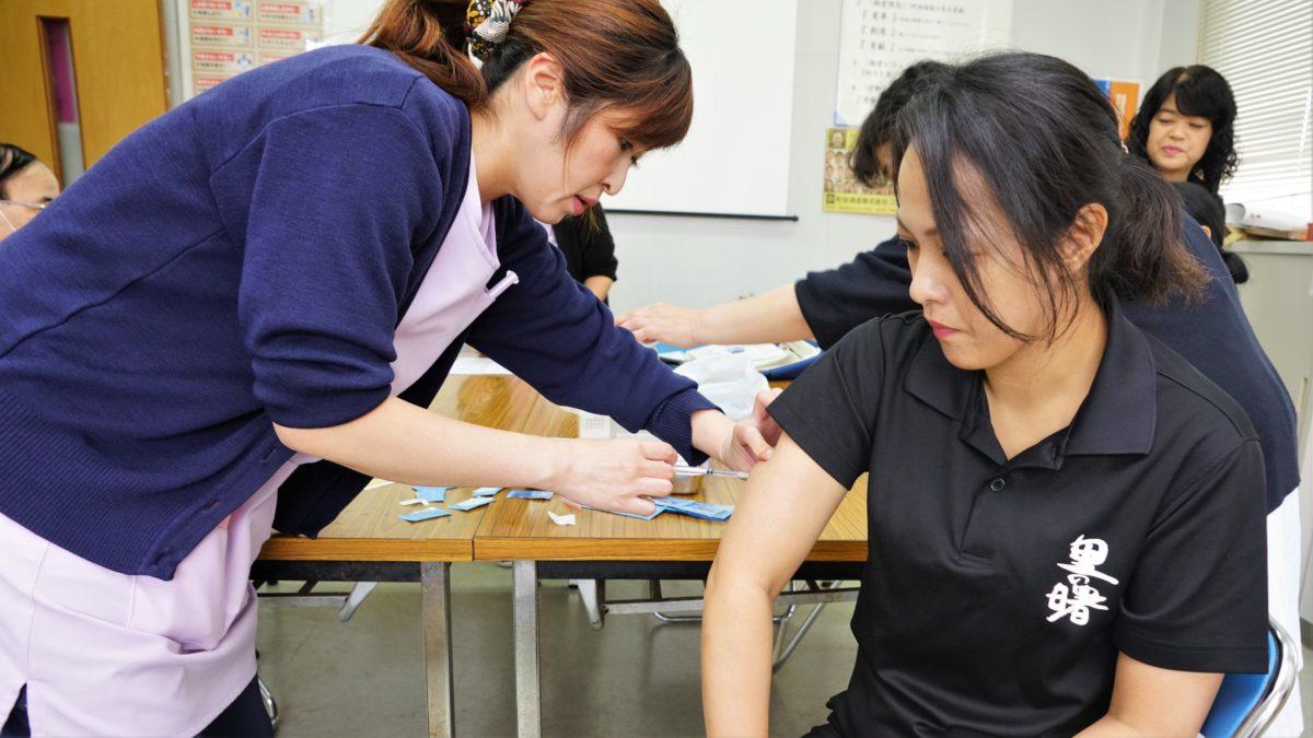職場でインフル予防接種