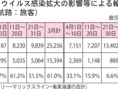 奄美・沖縄航路8割減