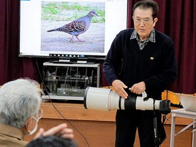 徳之島町亀津北区「大瀬川水辺の野鳥」で講話