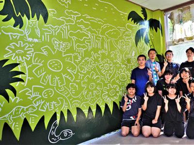壁画コラボで「豊かな森」