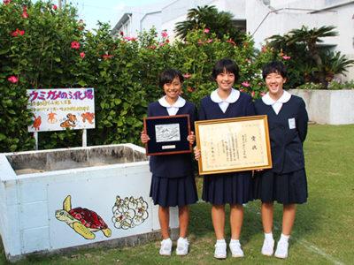 屋仁小のウミガメ保護活動が環境大臣賞