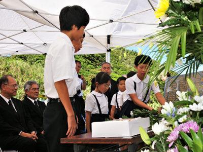 宇検村で対馬丸合同慰霊祭
