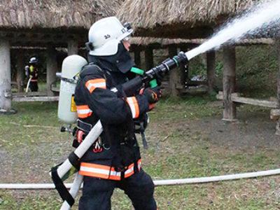 大和村「群倉」で防火訓練