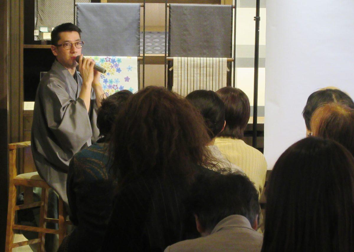 着物専門店で講演会 西郷の玄孫・写真家の津田さん