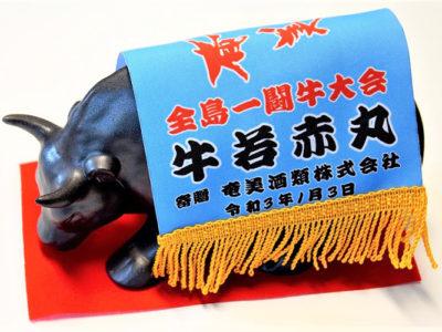 オリジナルガウン付き黒糖焼酎「闘牛」を開発