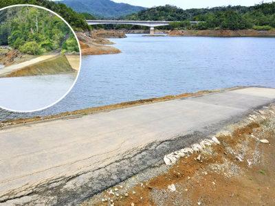 徳之島ダム 水位低下で姿
